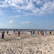 Beach yoga at the shore